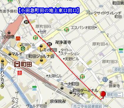 小田急町田の地上東口からのイラスト地図